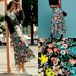 Maeve by Anthro   Floral Midi Skirt   Size XS
